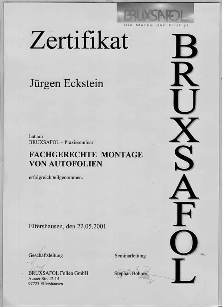 Zertifikat Eckstein Foliensysteme