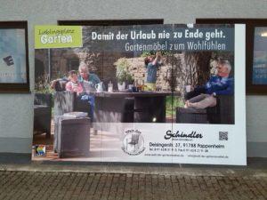 Werbeschild für Welt der Gartenmöbel von Eckstein Foliensysteme in Weißenburg!